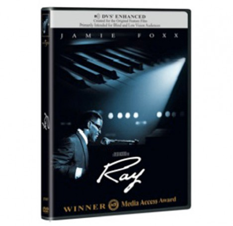 DVD of DVS Enhanced ACB Media Access Award-winning film Ray, pictures Ray Charles at piano, with large keyboard superimposed above his head.
