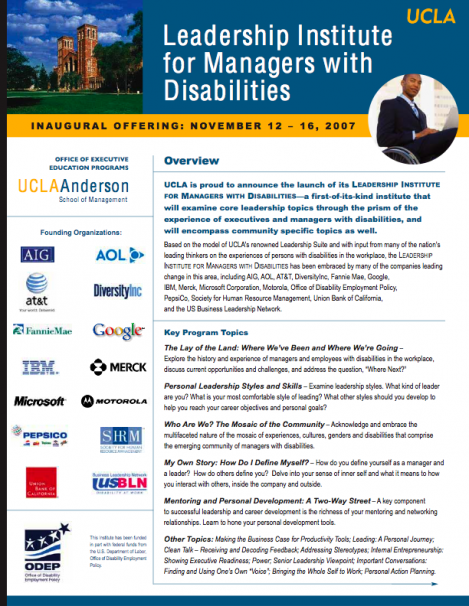 "Flyer of the Inaugural Offering of the UCLA Anderson Leadership Institute for Managers with Disabilities and the ""Founding Organizations."""