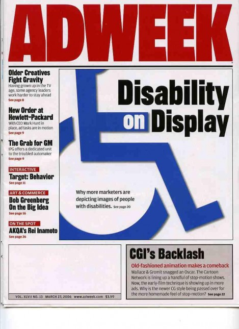 "Cover story in Adweek magazine ""Disability On Display"" with wheelchair logo."