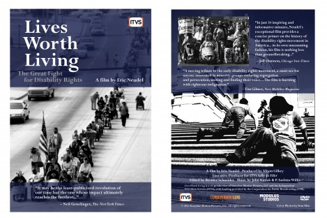 DVD wrap of documentary Lives Worth Living, with endorsements and photos of disability rights demonstrations.