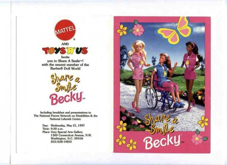 Invitation to launch of Mattel's Share-a-Smile Becky in Washington, DC. Picture of Becky doll in her wheelchair with other diversity dolls.