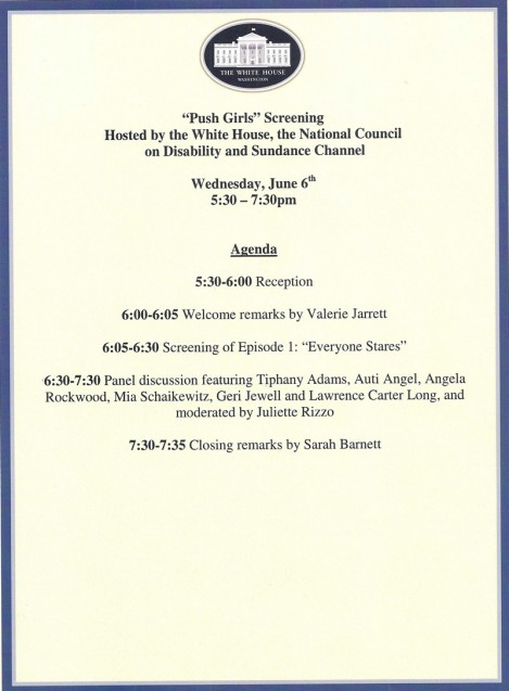White House agenda for screening/Panel discussion for Push Girls.